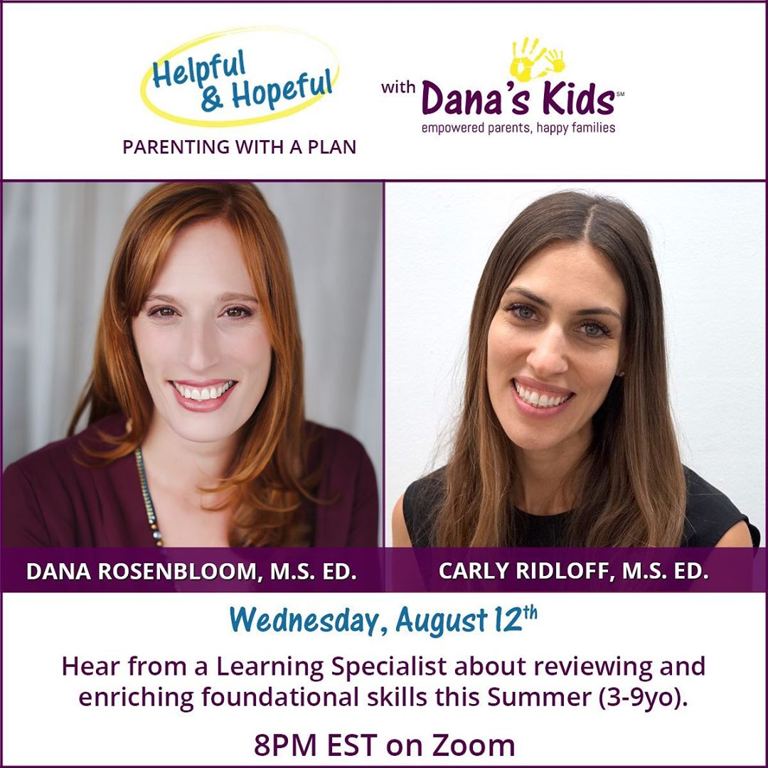 Carly Chats with Dana Rosenbloom from Dana'sKids about FUN foundational and enriching activities to do at home       (3-9 yo)